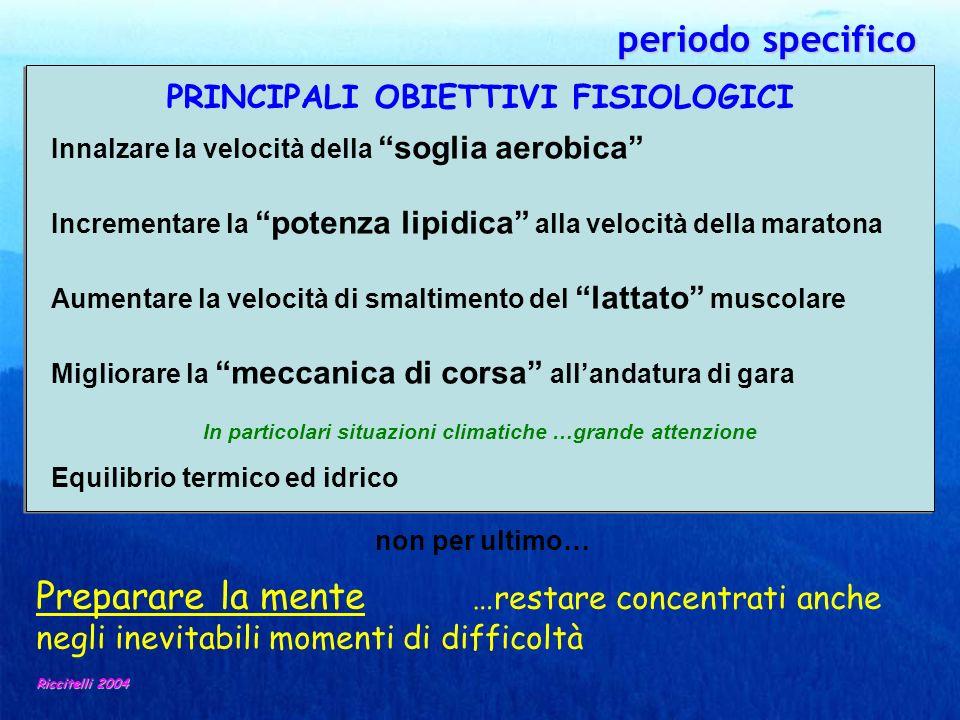 periodo specifico periodo specifico Riccitelli 2004 PRINCIPALI OBIETTIVI FISIOLOGICI Innalzare la velocità della soglia aerobica Incrementare la poten