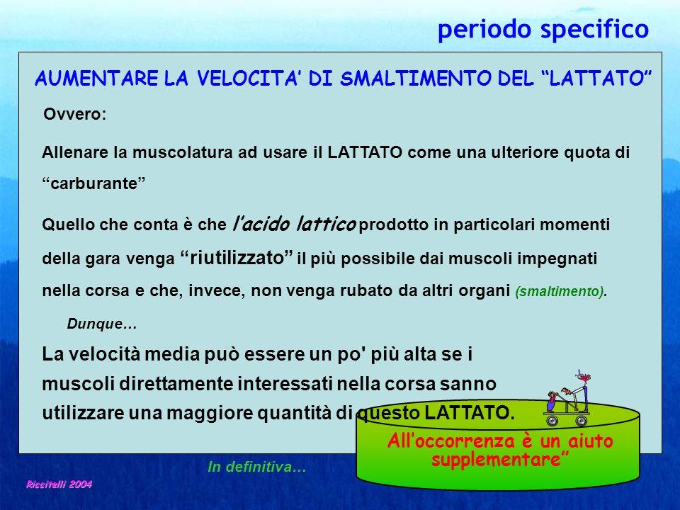 AUMENTARE LA VELOCITA DI SMALTIMENTO DEL LATTATO Riccitelli 2004 Allenare la muscolatura ad usare il LATTATO come una ulteriore quota di carburante Qu