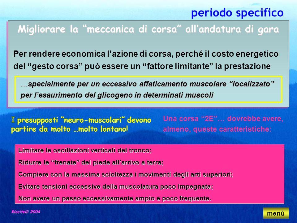 Riccitelli 2004 periodo specifico Migliorare la meccanica di corsa allandatura di gara Per rendere economica lazione di corsa, perché il costo energet
