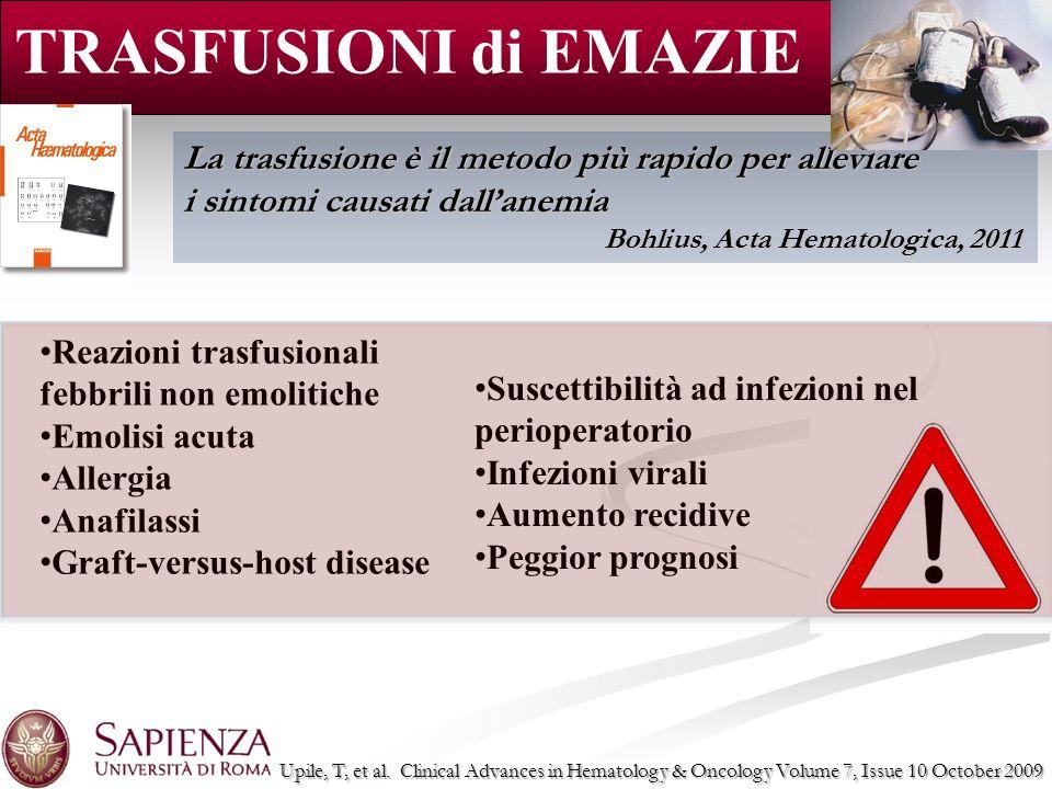 TRASFUSIONI di EMAZIE La trasfusione è il metodo più rapido per alleviare i sintomi causati dallanemia Bohlius, Acta Hematologica, 2011 Reazioni trasf