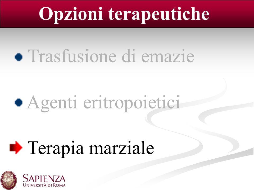 Opzioni terapeutiche Trasfusione di emazie Agenti eritropoietici Terapia marziale