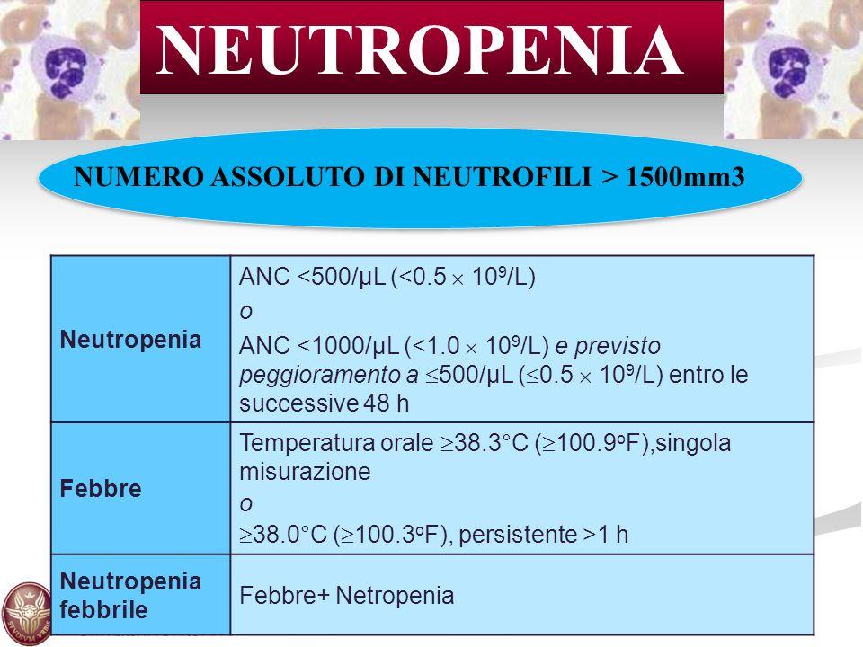 NEUTROPENIA NUMERO ASSOLUTO DI NEUTROFILI > 1500mm3 Neutropenia ANC <500/μL (<0.5 10 9 /L) o ANC <1000/μL (<1.0 10 9 /L) e previsto peggioramento a 50