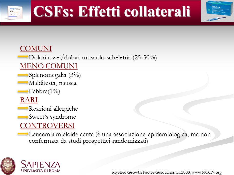 COMUNI Dolori ossei/dolori muscolo-scheletrici(25-50%) MENO COMUNI Splenomegalia (3%) Malditesta, nausea Febbre(1%)RARI Reazioni allergiche Sweets syn