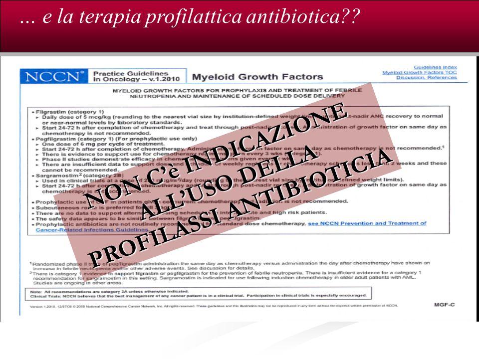 … e la terapia profilattica antibiotica?? NON Cè INDICAZIONE ALLUSO DELLA PROFILASSI ANTIBIOTICIA PROFILASSI ANTIBIOTICIA