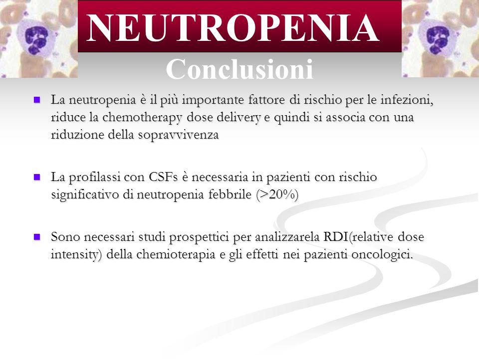 La neutropenia è il più importante fattore di rischio per le infezioni, riduce la chemotherapy dose delivery e quindi si associa con una riduzione del