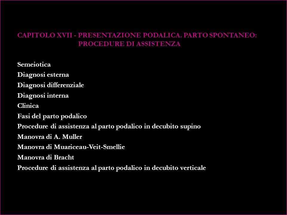 CAPITOLO XV - IL PARTO SPONTANEO DOPO PREGRESSO TAGLIO CESAREO (VBAC - Vaginal Birth After Cesarean) Counselling dellostetrica per il VBAC Rimedio omeopatico per le donne cesarizzate CAPITOLO XVI - PRESENTAZIONE PODALICA: METODICHE DI RIVOLGIMENTO Alcuni metodi per il rivolgimento Lavori scientifici