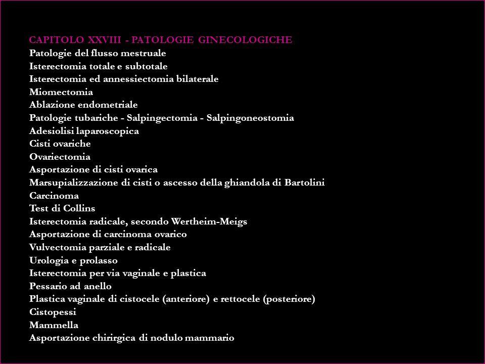 CAPITOLO XXVI - GINECOLOGIA PREVENTIVA Pap-test Colposcopia (Test di Schiller) Tecniche diagnostiche della ginecologia preventiva Esecuzione delle tecniche diagnostiche CAPITOLO XXVII - INDAGINI DIAGNOSTICHE Cistoscopia Idrolaparoscopia Isteroscopia Revisione della cavità uterina, Curettage diagnostico emostatico Biopsia cervicale Biopsia dellendometrio ambulatoriale