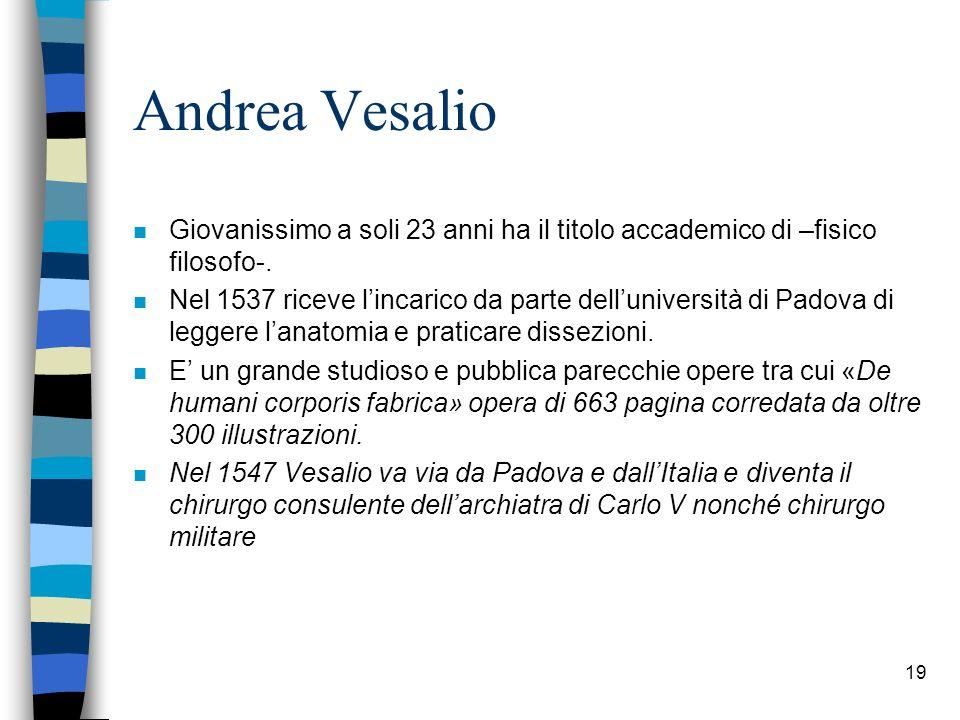Andrea Vesalio n Giovanissimo a soli 23 anni ha il titolo accademico di –fisico filosofo-. n Nel 1537 riceve lincarico da parte delluniversità di Pado