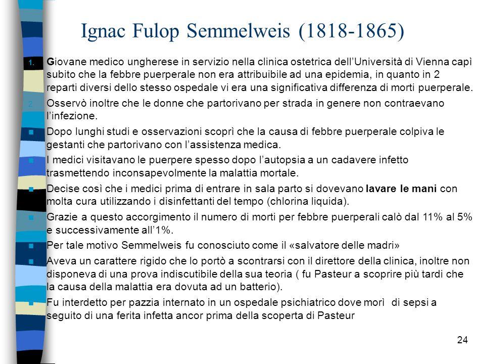 24 Ignac Fulop Semmelweis (1818-1865) 1. Giovane medico ungherese in servizio nella clinica ostetrica dellUniversità di Vienna capì subito che la febb