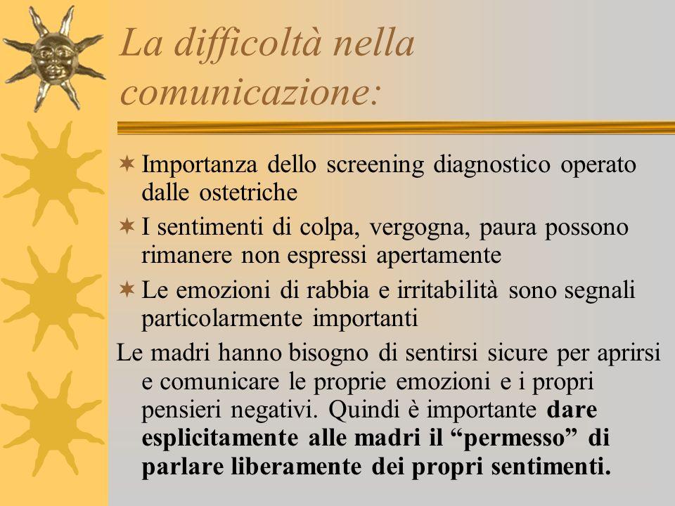 La difficoltà nella comunicazione: Importanza dello screening diagnostico operato dalle ostetriche I sentimenti di colpa, vergogna, paura possono rima
