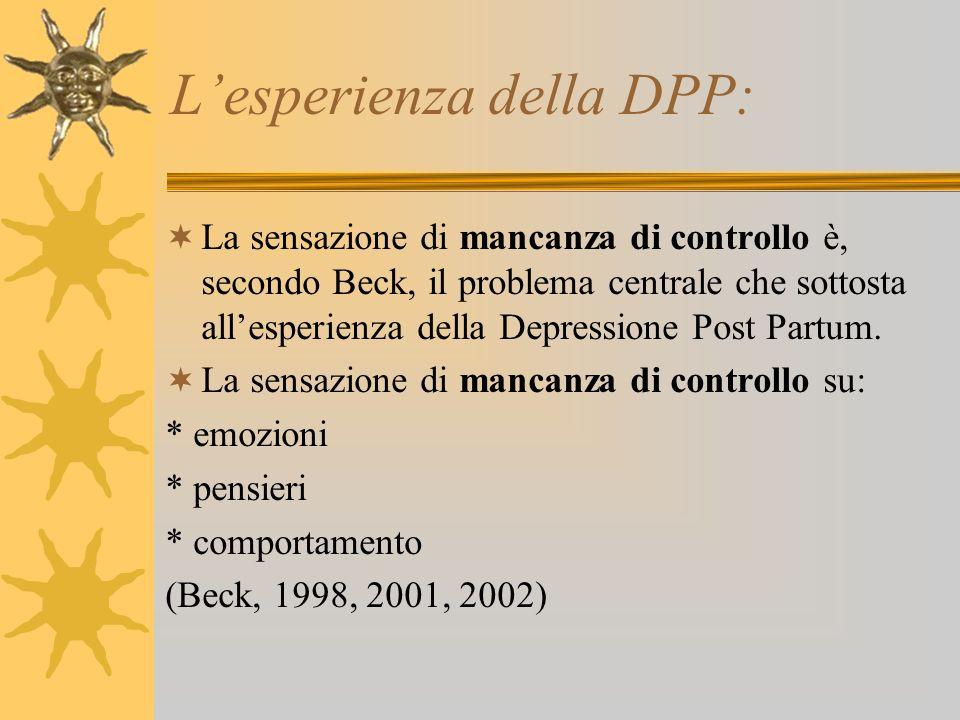 Lesperienza della DPP: La sensazione di mancanza di controllo è, secondo Beck, il problema centrale che sottosta allesperienza della Depressione Post