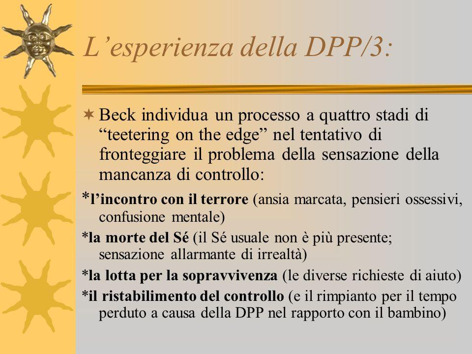 Lesperienza della DPP/3: Beck individua un processo a quattro stadi di teetering on the edge nel tentativo di fronteggiare il problema della sensazion