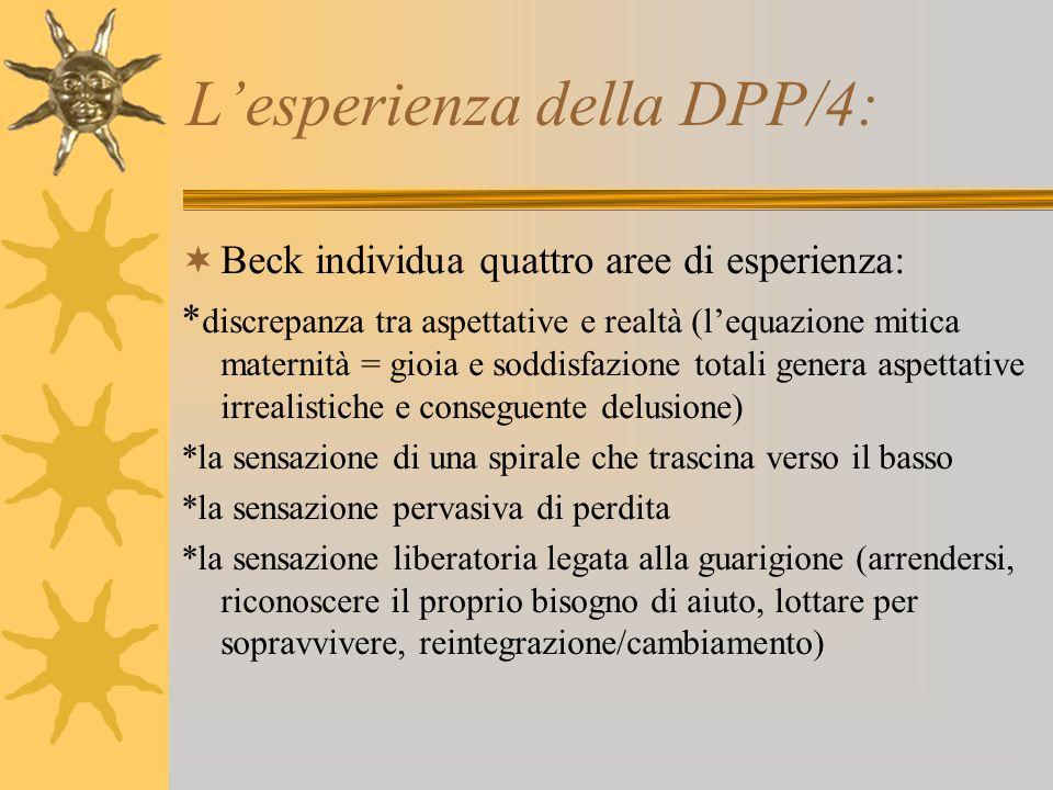 Lesperienza della DPP/4: Beck individua quattro aree di esperienza: * discrepanza tra aspettative e realtà (lequazione mitica maternità = gioia e sodd