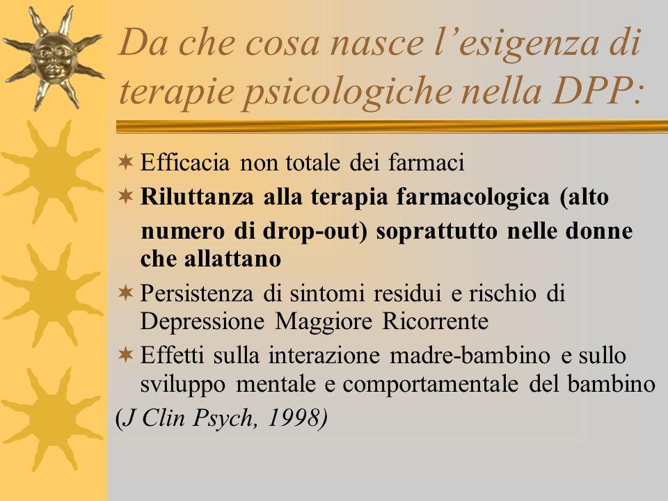Da che cosa nasce lesigenza di terapie psicologiche nella DPP: Efficacia non totale dei farmaci Riluttanza alla terapia farmacologica (alto numero di
