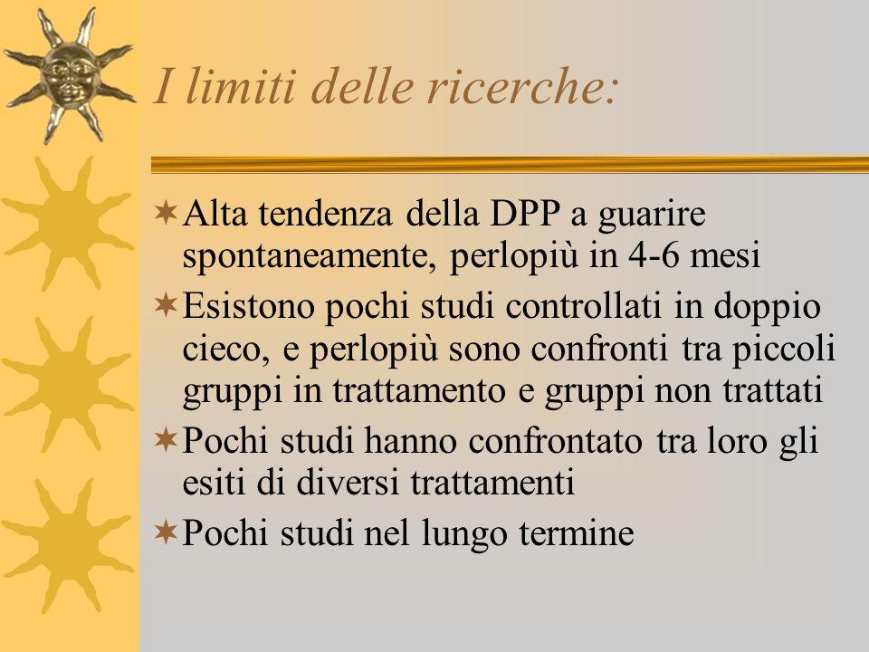 I limiti delle ricerche: Alta tendenza della DPP a guarire spontaneamente, perlopiù in 4-6 mesi Esistono pochi studi controllati in doppio cieco, e pe