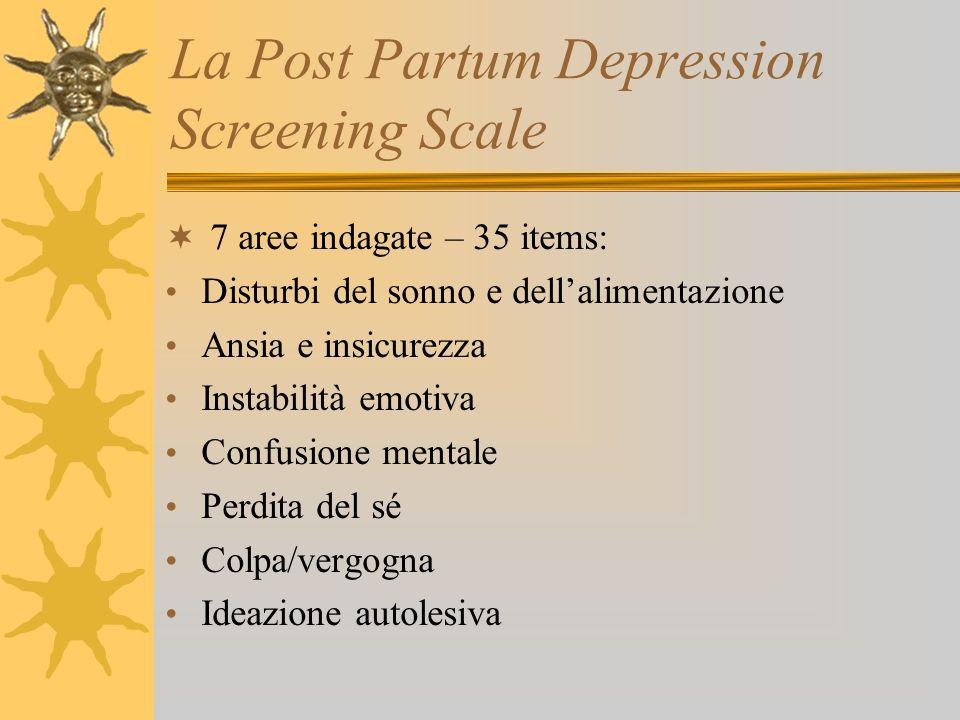 La Post Partum Depression Screening Scale 7 aree indagate – 35 items: Disturbi del sonno e dellalimentazione Ansia e insicurezza Instabilità emotiva C