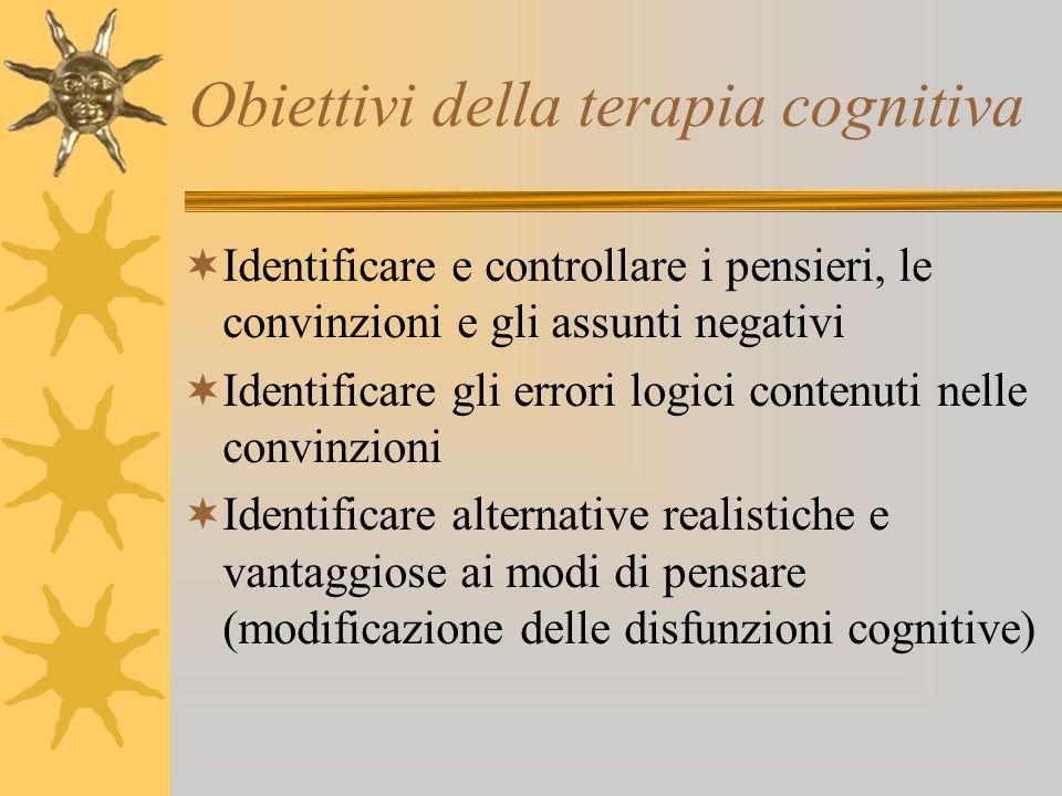 Obiettivi della terapia cognitiva Identificare e controllare i pensieri, le convinzioni e gli assunti negativi Identificare gli errori logici contenut