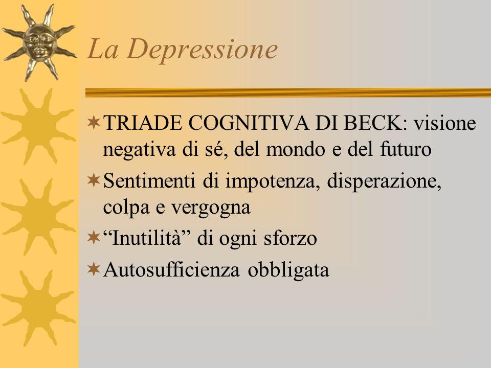 La Depressione TRIADE COGNITIVA DI BECK: visione negativa di sé, del mondo e del futuro Sentimenti di impotenza, disperazione, colpa e vergogna Inutil