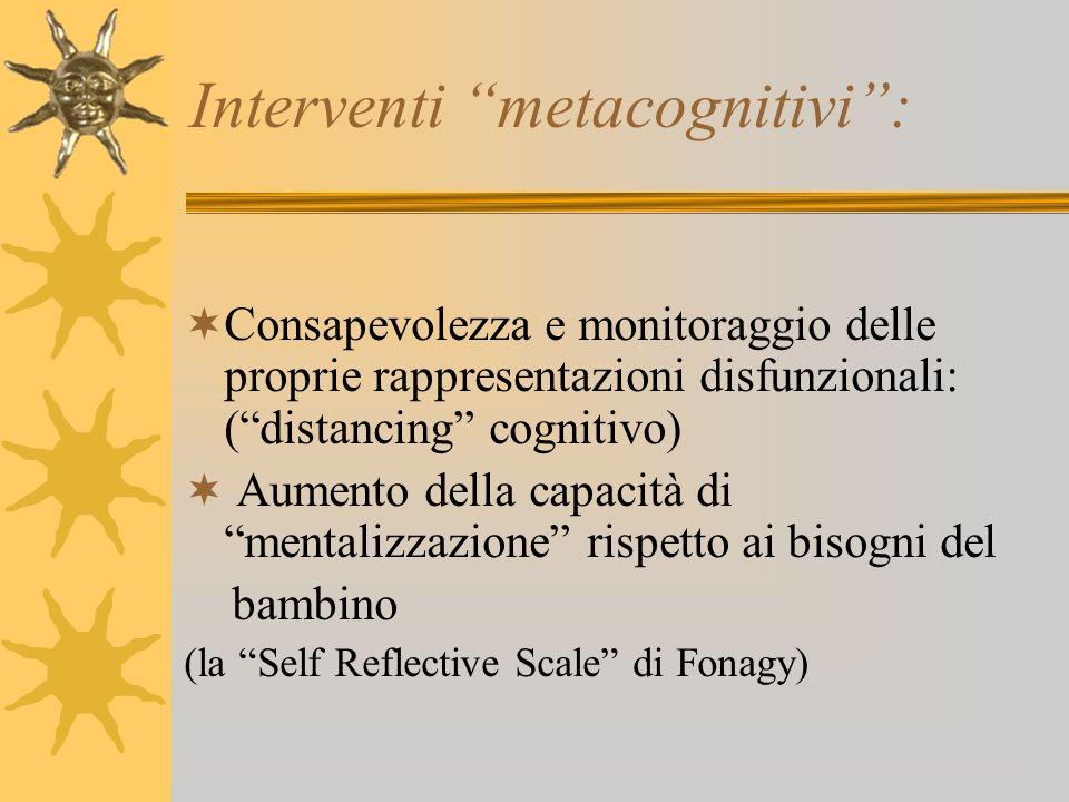 Interventi metacognitivi: Consapevolezza e monitoraggio delle proprie rappresentazioni disfunzionali: (distancing cognitivo) Aumento della capacità di