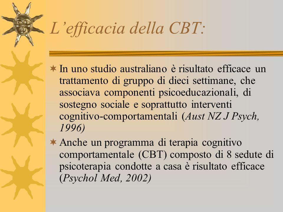 Lefficacia della CBT: In uno studio australiano è risultato efficace un trattamento di gruppo di dieci settimane, che associava componenti psicoeducaz