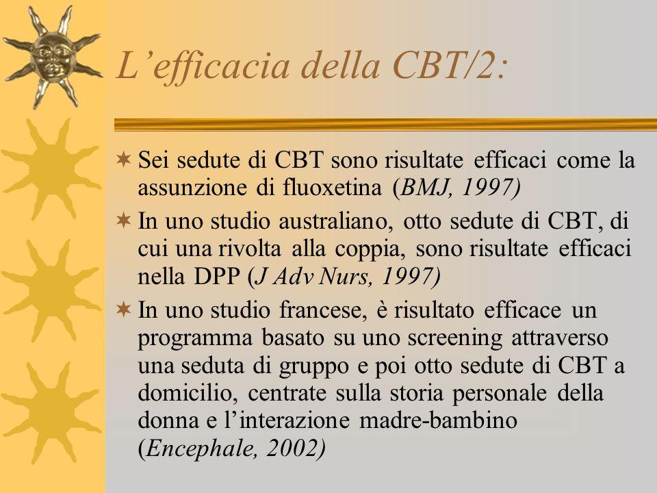 Lefficacia della CBT/2: Sei sedute di CBT sono risultate efficaci come la assunzione di fluoxetina (BMJ, 1997) In uno studio australiano, otto sedute
