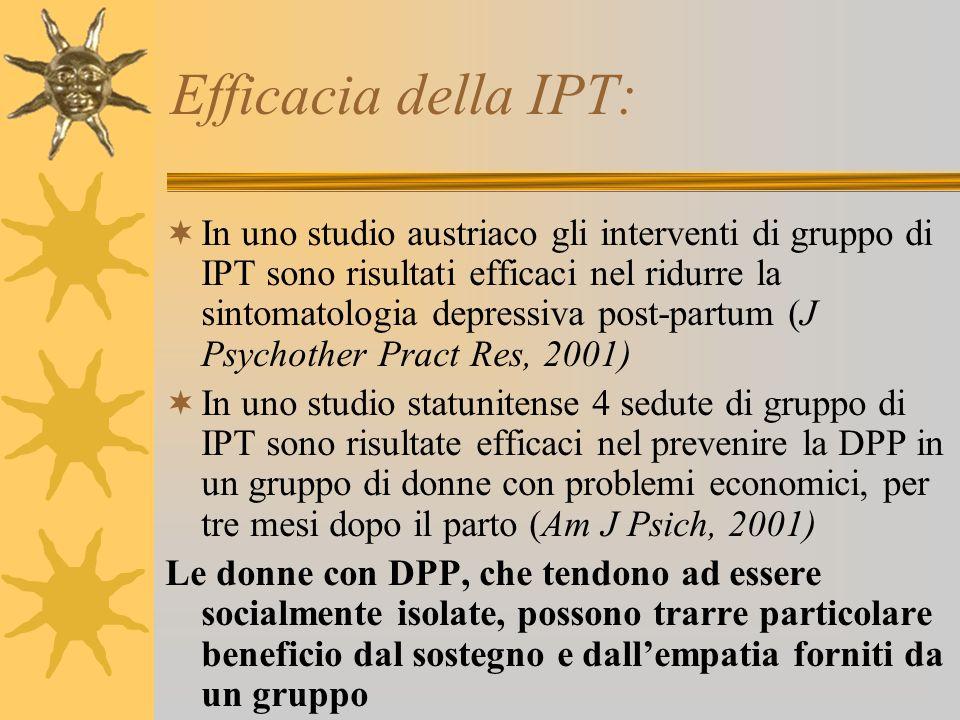 Efficacia della IPT: In uno studio austriaco gli interventi di gruppo di IPT sono risultati efficaci nel ridurre la sintomatologia depressiva post-par