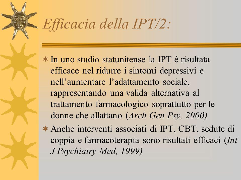 Efficacia della IPT/2: In uno studio statunitense la IPT è risultata efficace nel ridurre i sintomi depressivi e nellaumentare ladattamento sociale, r
