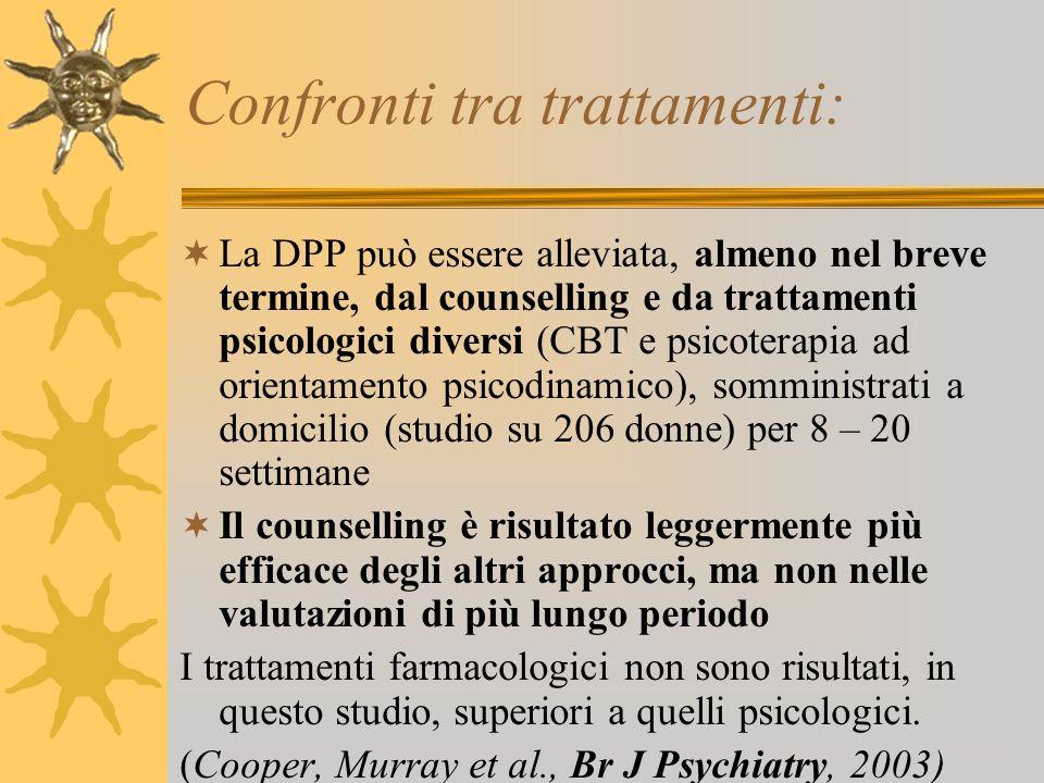 Confronti tra trattamenti: La DPP può essere alleviata, almeno nel breve termine, dal counselling e da trattamenti psicologici diversi (CBT e psicoter