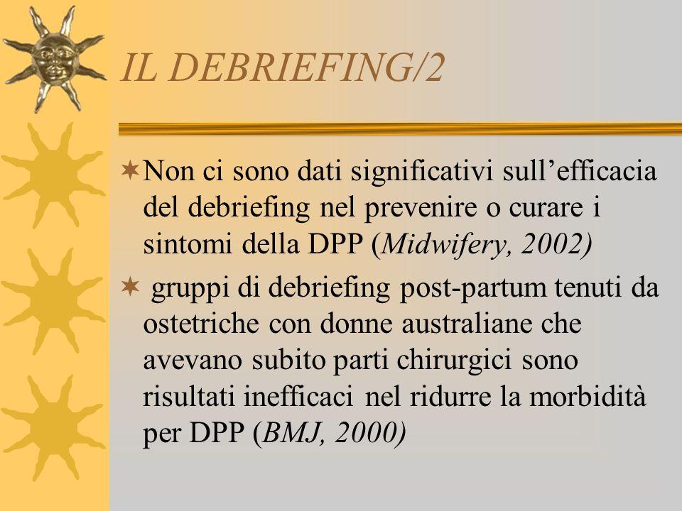 IL DEBRIEFING/2 Non ci sono dati significativi sullefficacia del debriefing nel prevenire o curare i sintomi della DPP (Midwifery, 2002) gruppi di deb