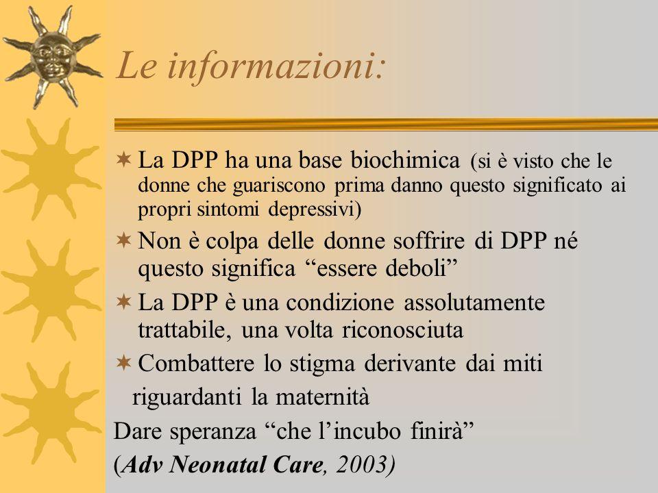 Le informazioni: La DPP ha una base biochimica (si è visto che le donne che guariscono prima danno questo significato ai propri sintomi depressivi) No