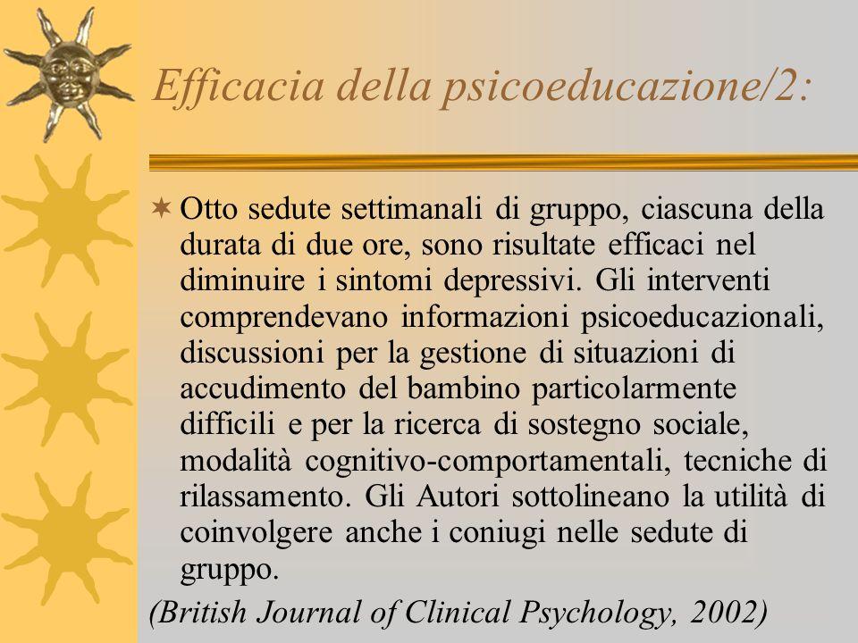 Efficacia della psicoeducazione/2: Otto sedute settimanali di gruppo, ciascuna della durata di due ore, sono risultate efficaci nel diminuire i sintom
