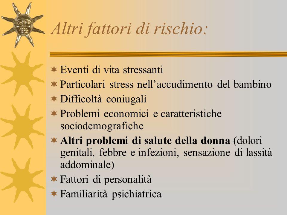 Altri fattori di rischio: Eventi di vita stressanti Particolari stress nellaccudimento del bambino Difficoltà coniugali Problemi economici e caratteri