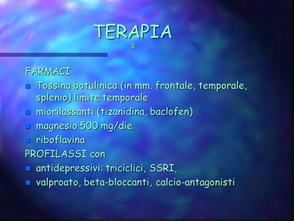 TERAPIA 2 Scopo: interrompere ciclo vizioso (contrattura-> dolore-> contrattura) n Agopuntura (*) n Biofeedback (EMG, termico) -> educazione al contro