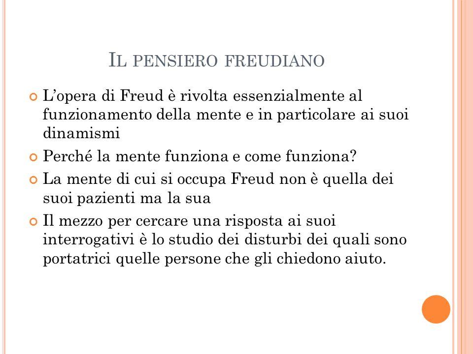I L PENSIERO FREUDIANO Lopera di Freud è rivolta essenzialmente al funzionamento della mente e in particolare ai suoi dinamismi Perché la mente funzio