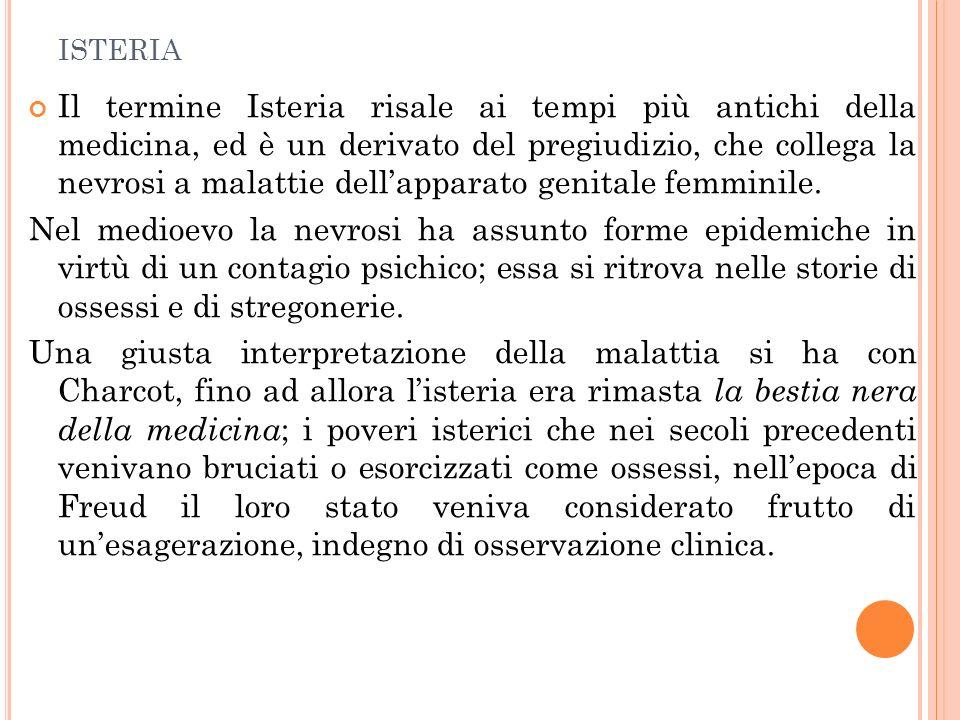 ISTERIA Il termine Isteria risale ai tempi più antichi della medicina, ed è un derivato del pregiudizio, che collega la nevrosi a malattie dellapparat