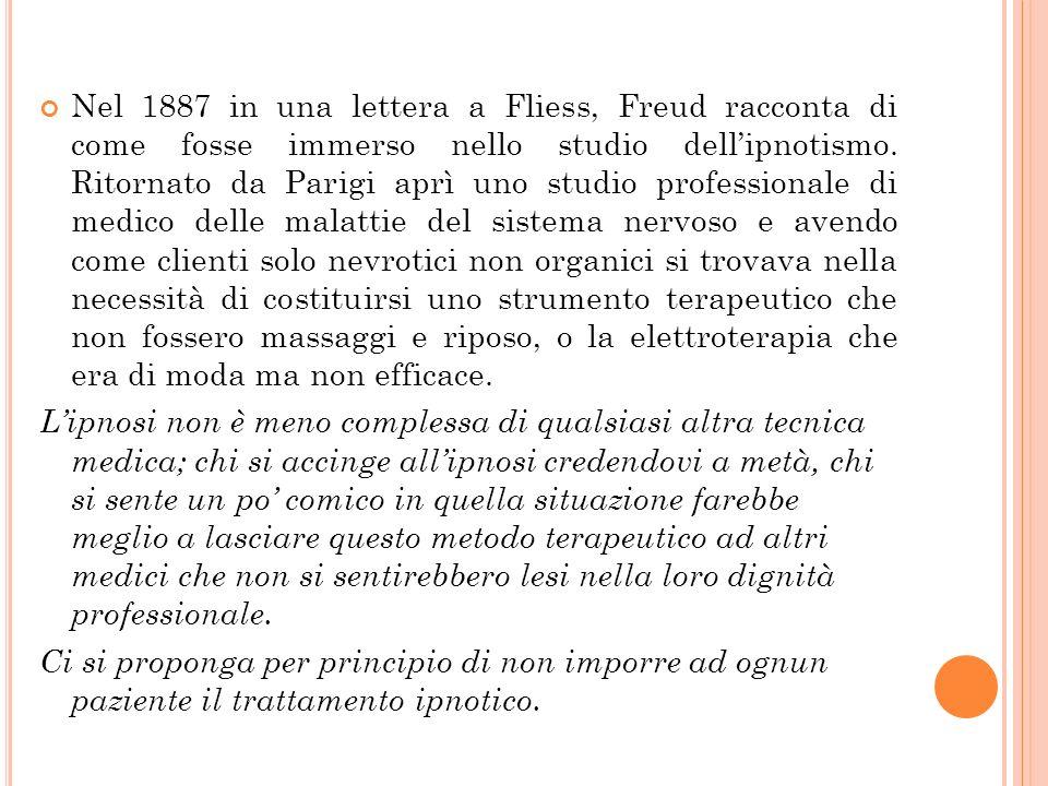 Nel 1887 in una lettera a Fliess, Freud racconta di come fosse immerso nello studio dellipnotismo. Ritornato da Parigi aprì uno studio professionale d