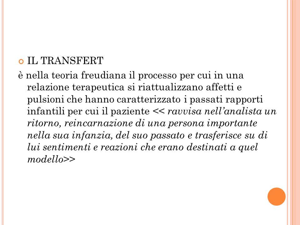 IL TRANSFERT è nella teoria freudiana il processo per cui in una relazione terapeutica si riattualizzano affetti e pulsioni che hanno caratterizzato i