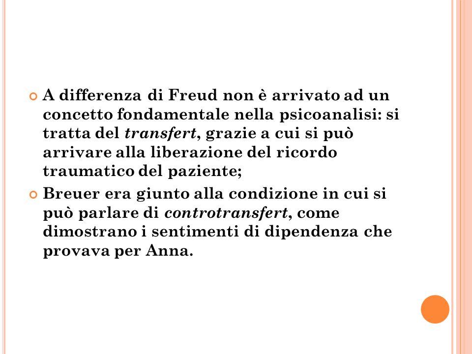 A differenza di Freud non è arrivato ad un concetto fondamentale nella psicoanalisi: si tratta del transfert, grazie a cui si può arrivare alla libera