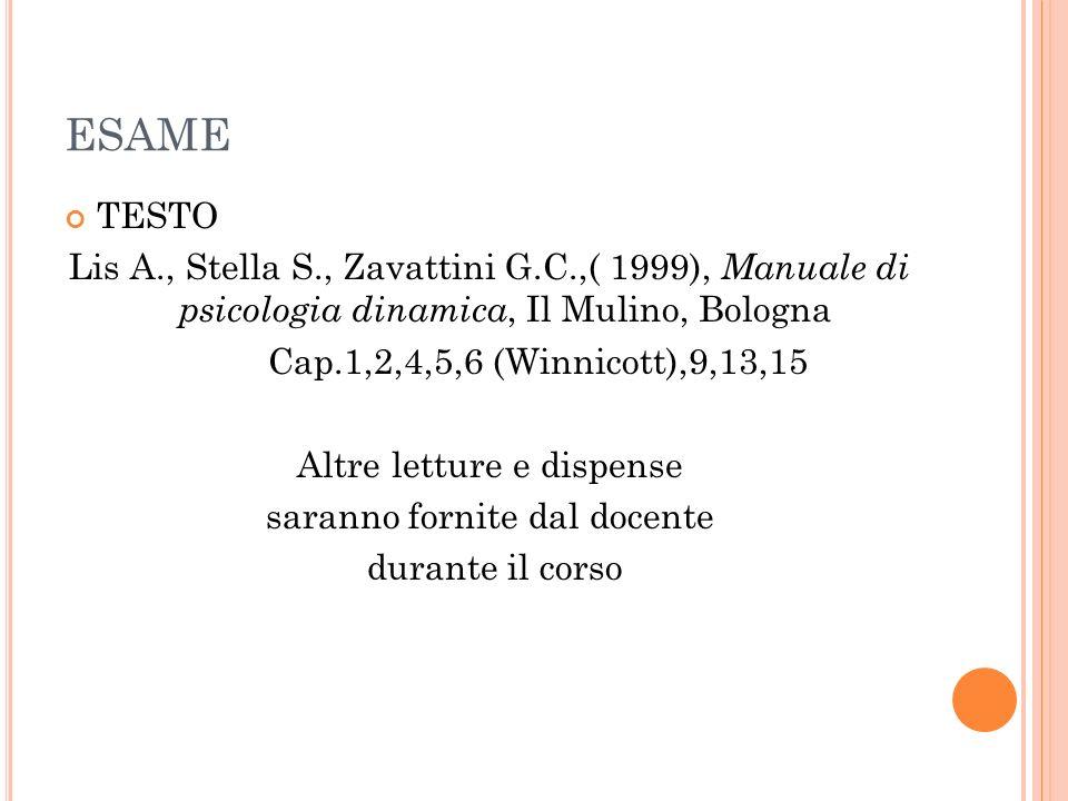 ESAME TESTO Lis A., Stella S., Zavattini G.C.,( 1999), Manuale di psicologia dinamica, Il Mulino, Bologna Cap.1,2,4,5,6 (Winnicott),9,13,15 Altre lett