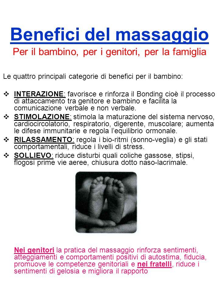 Benefici del massaggio Per il bambino, per i genitori, per la famiglia Le quattro principali categorie di benefici per il bambino: INTERAZIONE: favori