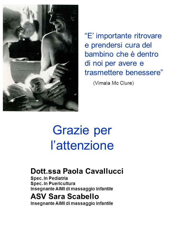 Grazie per lattenzione Dott.ssa Paola Cavallucci Spec. In Pediatria Spec. In Puericultura Insegnante AIMI di massaggio infantile ASV Sara Scabello Ins