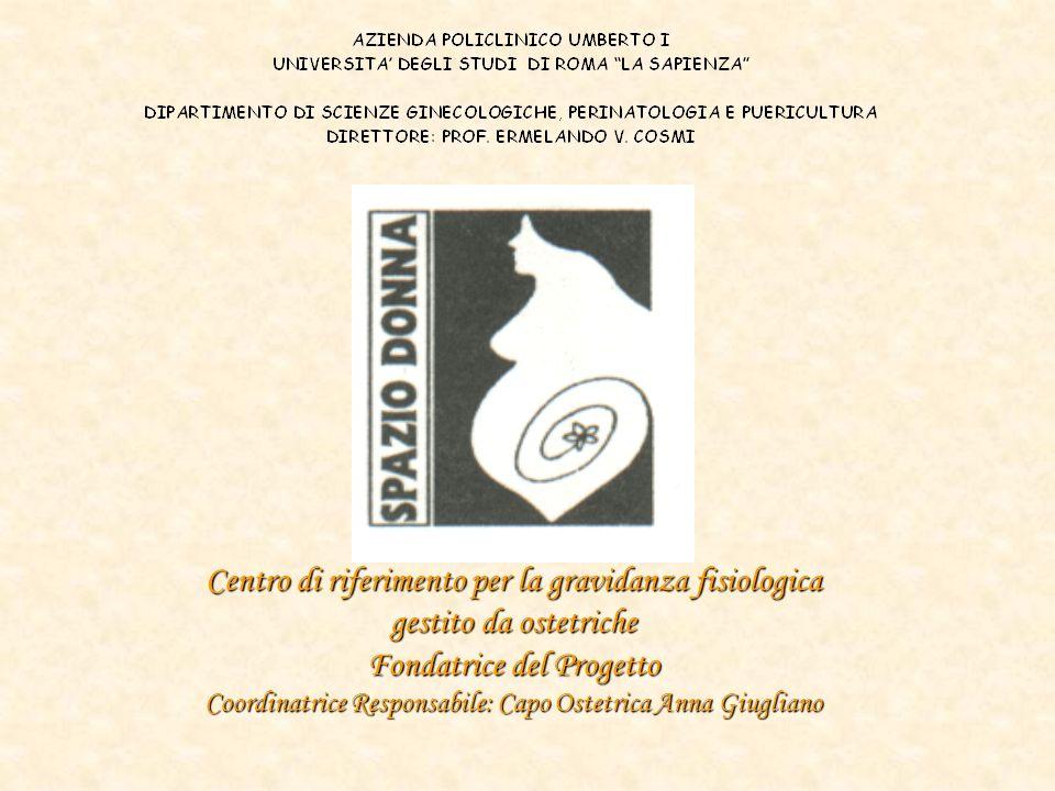 Centro di riferimento per la gravidanza fisiologica gestito da ostetriche Fondatrice del Progetto Coordinatrice Responsabile: Capo Ostetrica Anna Giugliano