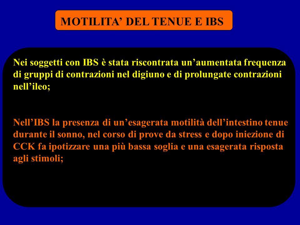 MOTILITA DEL TENUE E IBS Nei soggetti con IBS è stata riscontrata unaumentata frequenza di gruppi di contrazioni nel digiuno e di prolungate contrazio