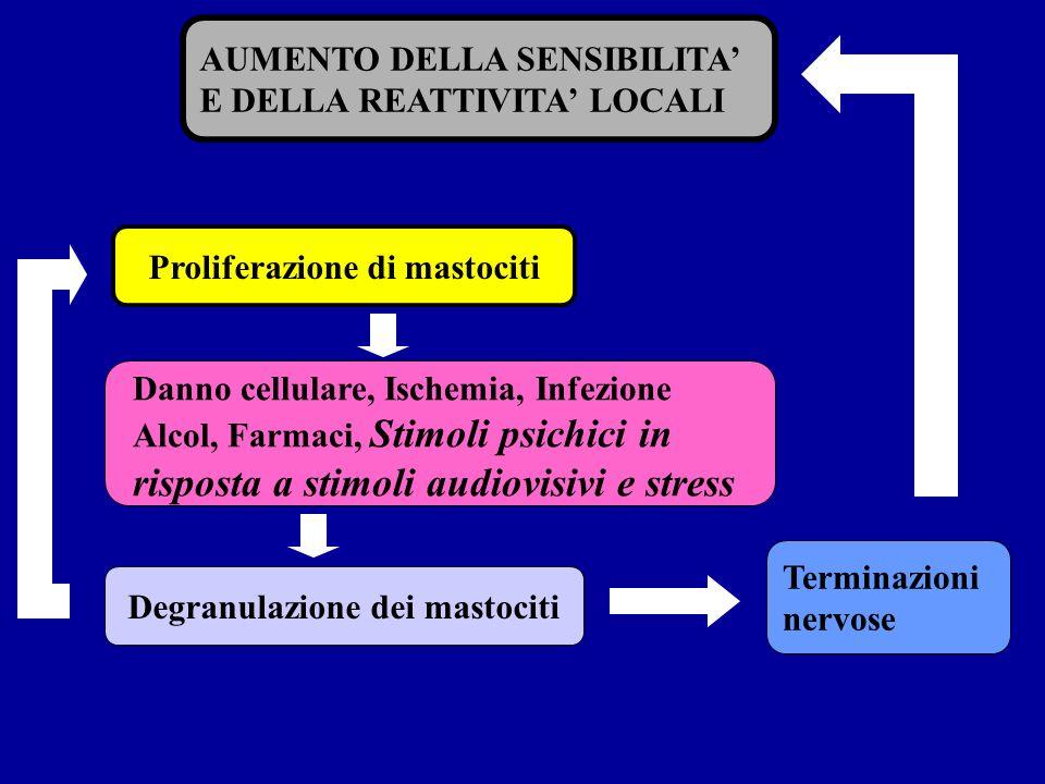 AUMENTO DELLA SENSIBILITA E DELLA REATTIVITA LOCALI Proliferazione di mastociti Degranulazione dei mastociti Danno cellulare, Ischemia, Infezione Alco