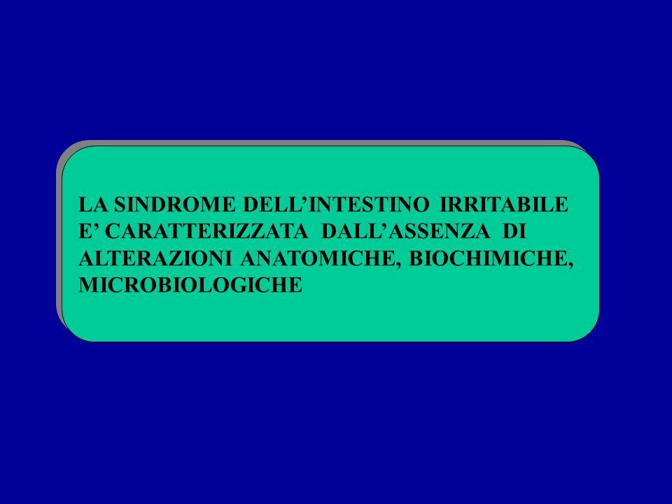 LA SINDROME DELLINTESTINO IRRITABILE E CARATTERIZZATA DALLASSENZA DI ALTERAZIONI ANATOMICHE, BIOCHIMICHE, MICROBIOLOGICHE LA SINDROME DELLINTESTINO IR