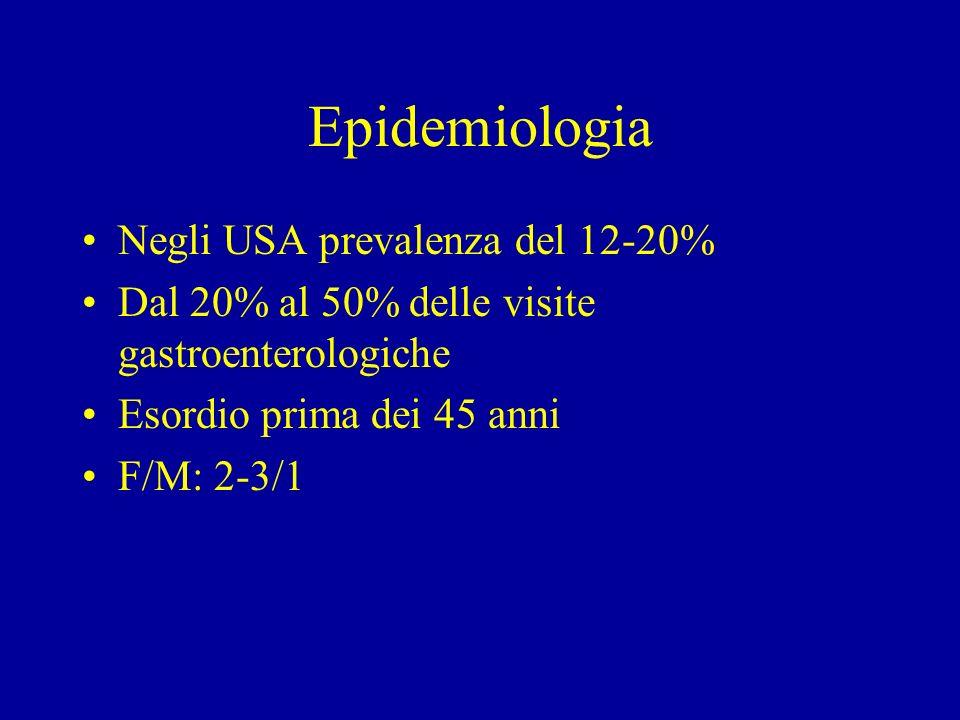 Epidemiologia Negli USA prevalenza del 12-20% Dal 20% al 50% delle visite gastroenterologiche Esordio prima dei 45 anni F/M: 2-3/1