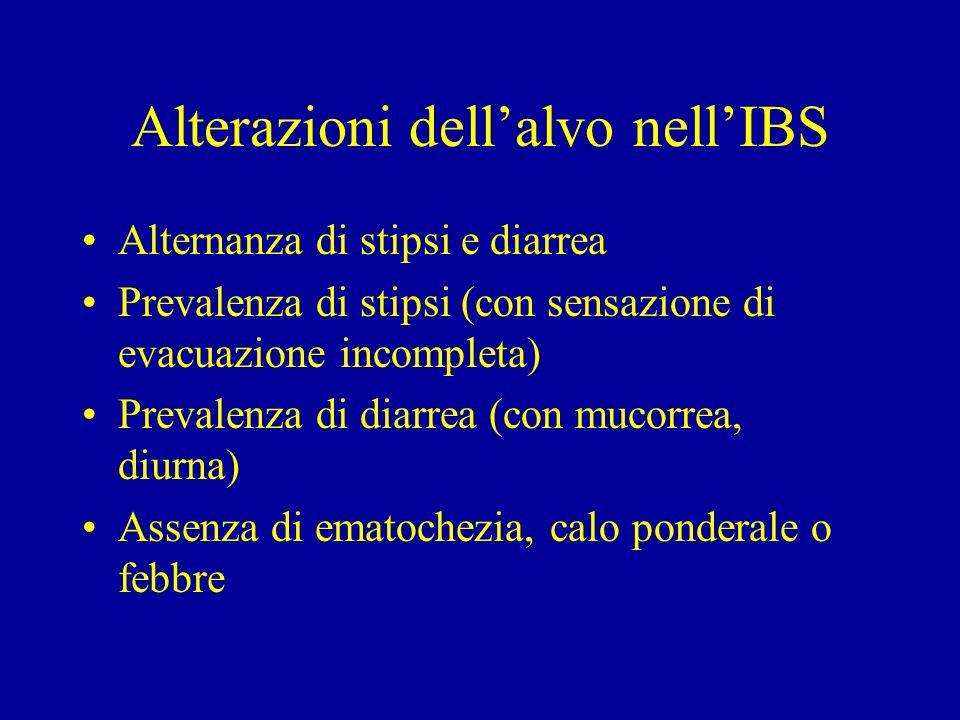 Alterazioni dellalvo nellIBS Alternanza di stipsi e diarrea Prevalenza di stipsi (con sensazione di evacuazione incompleta) Prevalenza di diarrea (con