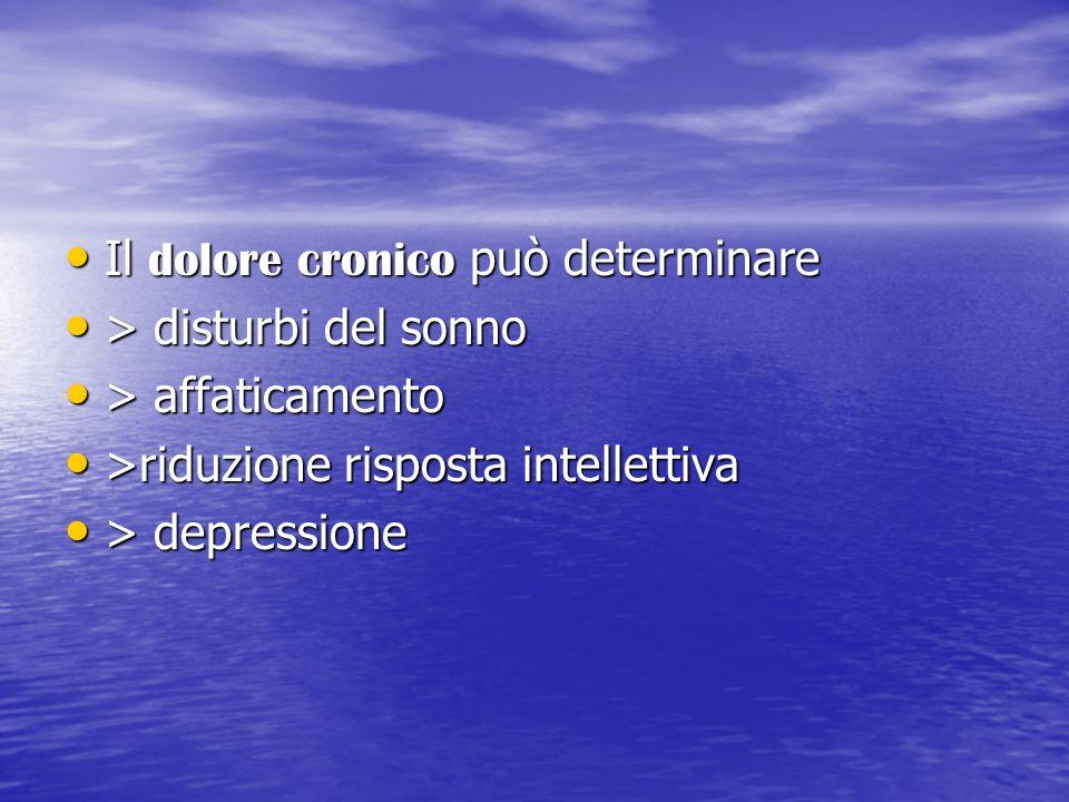Il dolore cronico può determinare Il dolore cronico può determinare > disturbi del sonno > disturbi del sonno > affaticamento > affaticamento >riduzio