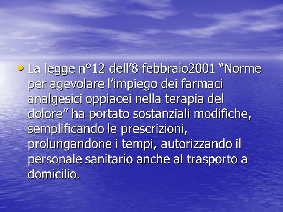 La legge n°12 dell8 febbraio2001 Norme per agevolare limpiego dei farmaci analgesici oppiacei nella terapia del dolore ha portato sostanziali modifich