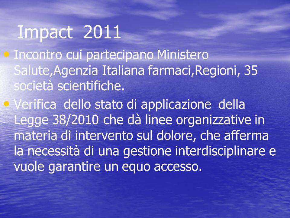 Impact 2011 Incontro cui partecipano Ministero Salute,Agenzia Italiana farmaci,Regioni, 35 società scientifiche. Verifica dello stato di applicazione